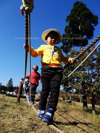 バランスをとって歩く子供の写真素材 [FYI00055546]