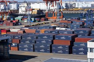 橫浜港のコンテナ埠頭の写真素材 [FYI00056321]