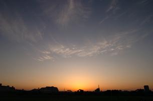 多摩川の朝日の写真素材 [FYI00057047]