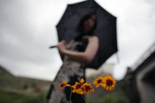 黄色い花とアウトフォーカスの女性の写真素材 [FYI00057565]