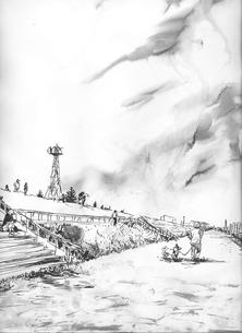 河川敷の土手で散歩する人々の写真素材 [FYI00058233]