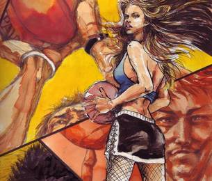 バスケットボールを手に持つミニスカートの女性とシュートを打とうとする選手の素材 [FYI00058240]