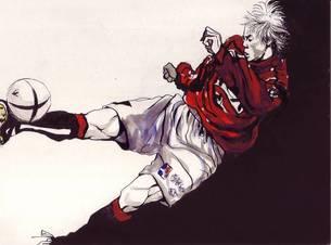 右足でボレーシュートする赤いユニフォームのサッカー選手の素材 [FYI00058248]