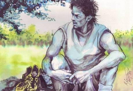 木陰で休むサッカー選手の素材 [FYI00058253]
