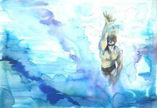 こちらに向かって泳いでくる水泳選手をプールの底から見上げるの素材 [FYI00058255]