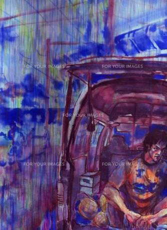 雨のサッカー場で用具車の荷台に座るサッカー選手の素材 [FYI00058260]