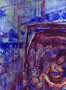 雨のサッカー場で用具車の荷台に座るサッカー選手の写真素材 [FYI00058260]