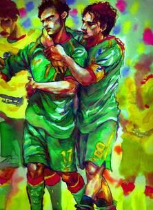 敗戦後落胆するチームメイトを慰めるサッカー選手の写真素材 [FYI00058277]