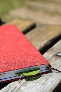 公園のベンチで読書の写真素材 [FYI00061176]
