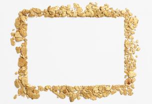 砂金を並べたフレーム素材の写真素材 [FYI00061529]