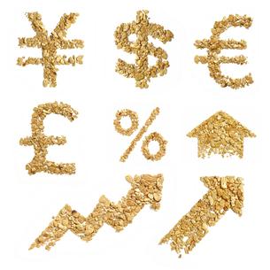 砂金を並べた通貨記号パーツの写真素材 [FYI00061559]