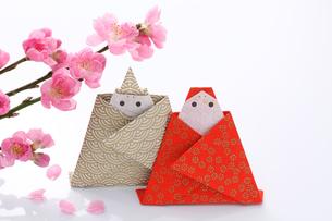 折り紙のひな人形と花桃の写真素材 [FYI00061612]