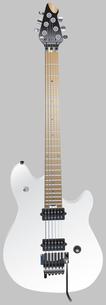 エレキギター クリアホワイト 灰色背景の写真素材 [FYI00061795]