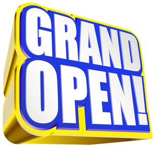 グランドオープン ロゴ青色の写真素材 [FYI00061843]