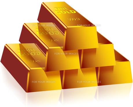 金塊 山積み 床面反射の素材 [FYI00061917]