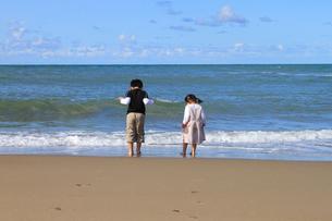 浜辺で遊ぶこどもたちの後ろ姿の写真素材 [FYI00061990]