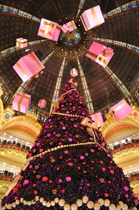 フランス パリ ギャラリー・ラファイエットのクリスマスツリーの写真素材 [FYI00063491]