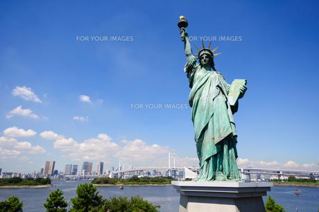 東京 自由の女神像とお台場海浜公園からの眺めの素材 [FYI00064869]
