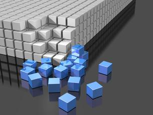 崩壊を表す3DCGイラストの写真素材 [FYI00068848]