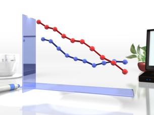 下降傾向を表す3DCGグラフの写真素材 [FYI00068870]