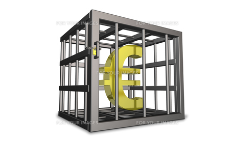 ユーロへの規制を表す3DCGイラストの素材 [FYI00068877]