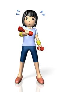 ダンベル体操をする女性の写真素材 [FYI00068913]