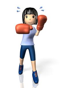 ボクシングでダイエットする女性の写真素材 [FYI00068917]