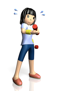 ダンベル体操をする女性の写真素材 [FYI00068928]