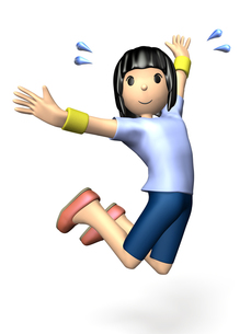 スポーツウェアでジャンプする女性の写真素材 [FYI00068930]