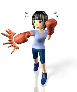 ボクシングでダイエットする女性の写真素材 [FYI00068936]