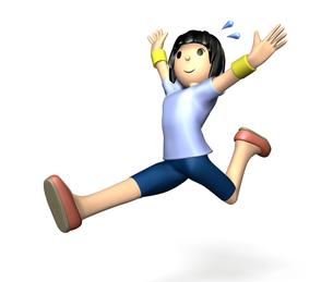スポーツウェアでジャンプする女性の写真素材 [FYI00068938]