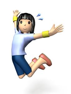 スポーツウェアでジャンプする女性の写真素材 [FYI00068948]