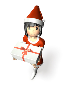 クリスマスプレゼントを抱える女性の写真素材 [FYI00068985]