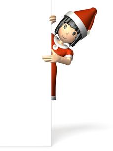 顔をのぞかせる女性(クリスマス)の写真素材 [FYI00068988]
