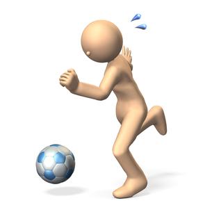 ボールを蹴るキャラクターの写真素材 [FYI00069081]