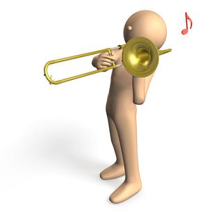 トロンボーンを吹くキャラクターの写真素材 [FYI00069088]