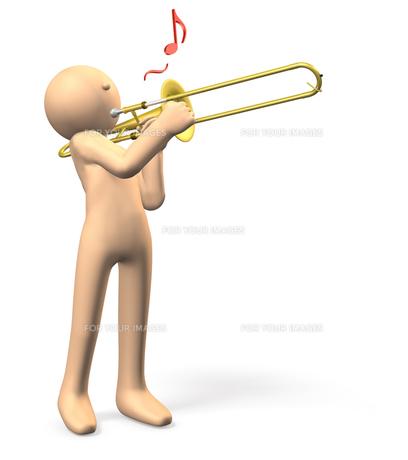 トロンボーンを吹くキャラクターの写真素材 [FYI00069097]