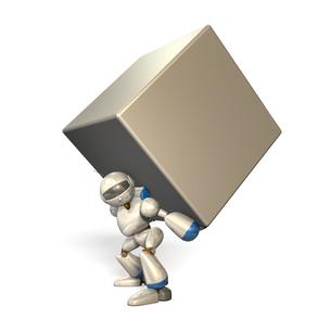 大きな荷物を抱えたロボットの写真素材 [FYI00069183]