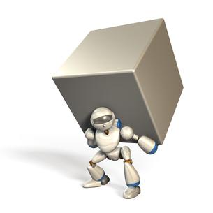 大きな荷物を抱えたロボットの写真素材 [FYI00069188]