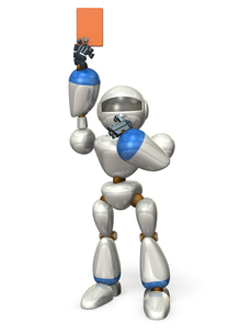 レッドカードを提示するロボットの写真素材 [FYI00069192]