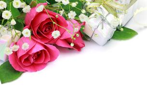 薔薇とプレゼントの写真素材 [FYI00072156]