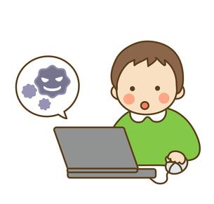 子供とPCの写真素材 [FYI00075739]