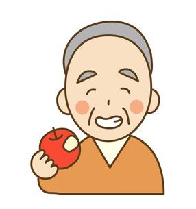 りんごを齧るおじいさんの写真素材 [FYI00075826]
