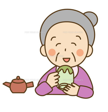 お茶を飲むおばあさんの素材 [FYI00075831]