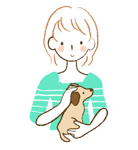 犬をなでる女性の素材 [FYI00075891]