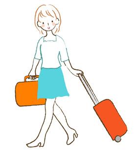 キャリーバッグを引く女性の写真素材 [FYI00075894]