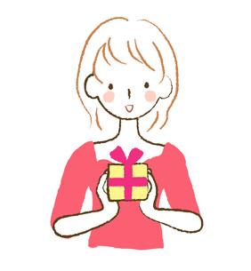 プレゼントを持つ女性の素材 [FYI00075909]