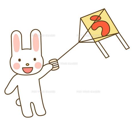 凧揚げするウサギの写真素材 [FYI00075952]