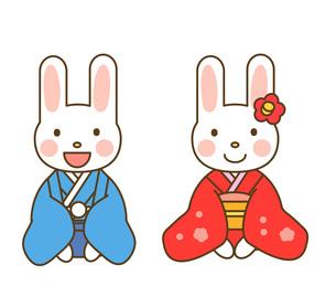 晴れ着のウサギの写真素材 [FYI00075967]