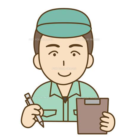確認する作業服の男性の写真素材 [FYI00075997]